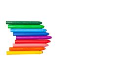 Crayons lined up in rainbow Royalty Free Stock Photos