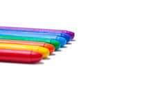 Crayons lined up in rainbow Royalty Free Stock Image