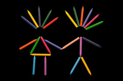 Crayons in Love on Black Stock Images
