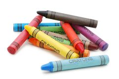 Crayons lying in chaos royalty free stock photos