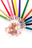 Crayons with many beautiful colors available Royalty Free Stock Image