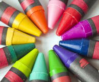 Crayons in Multicolors. Crayon points in a circle similar to the colorwheel for color mixing Royalty Free Stock Photos