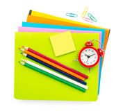 Crayons and notebook Stock Photo