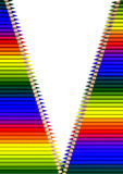 Crayons in open zipper Stock Photos