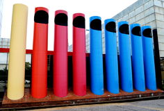 Crayons or Organ Pipes. Columbus, Indiana architectural sculpture designed by Paul Kennon in 1978. Unnamed, it commonly goes by `Crayons` or `Organ Pipes royalty free stock photo