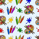 Crayons and palettes Royalty Free Stock Photography