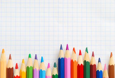 Crayons on the paper Royalty Free Stock Photo