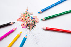 Crayons and peelings Royalty Free Stock Image