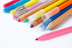 Crayons and pencil Stock Photography