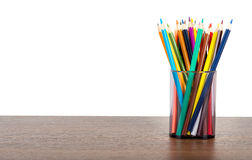 Crayons in pencil cup Stock Images
