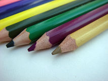Crayons pencil focus on yellow pencil. Colorful crayon pencils focus on yellow pencil stock photos