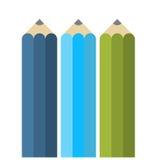 Crayons plats colorés Photos libres de droits