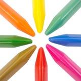 Crayons polychromes radiaux Photos stock