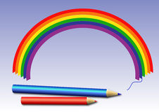 Crayons and rainbow. Colorful picture of rainbow and crayons Royalty Free Stock Photo