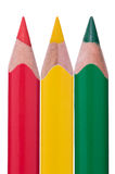 Crayons rouges de vert jaune Photo libre de droits