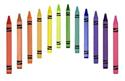 Crayons in a row stock photos