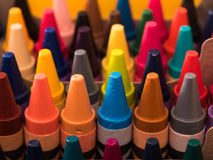 Crayons. In rows with multiple colors stock images