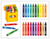 Crayons Set. Big box of crayons with 20 colors (brights and pastels) for scrapbooks, back to school, home and office projects. EPS8 in groups for easy editing Royalty Free Stock Photo