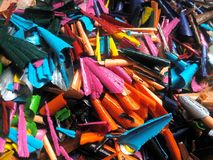 Crayons sharpened. Pieces of sharpened crayons royalty free stock photo