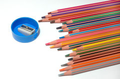 Crayons and sharpener Royalty Free Stock Image