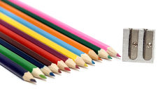Crayons and sharpener Royalty Free Stock Images