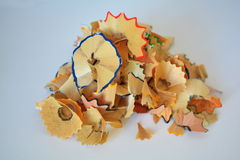 Crayons shavings. Colored wood shavings from pencils Stock Photos