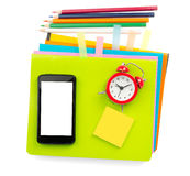Crayons and smartphone Royalty Free Stock Image
