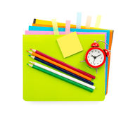 Crayons and sticker Royalty Free Stock Photos