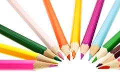Crayons sur le fond blanc Images stock