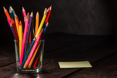 Crayons on the table Stock Images