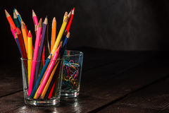Crayons on the table Stock Photo