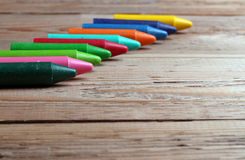 Crayons on a table Royalty Free Stock Image