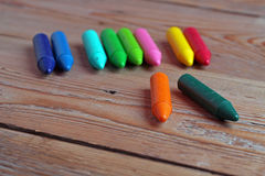 Crayons on a table Stock Photography