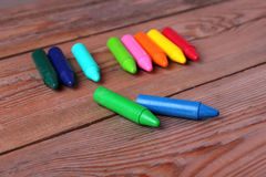 Crayons on a table Stock Photos