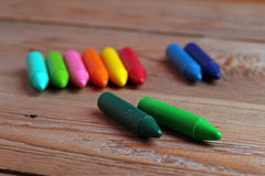Crayons on a table Royalty Free Stock Photos