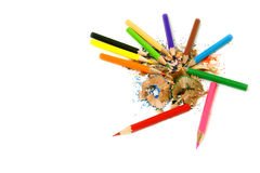Crayons and their wasted Royalty Free Stock Photo