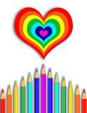 Crayons to draw a rainbow Royalty Free Stock Images