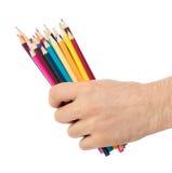 Crayons utilisés à disposition d'isolement Photo stock