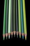 9 crayons verts - fond noir Image stock
