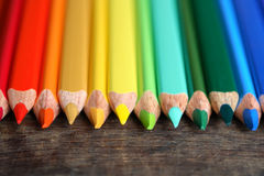 Crayons On Wood Stock Photography