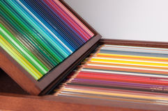 Crayons in wooden case Stock Image