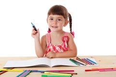 crayonsdrawflicka little arkivfoton