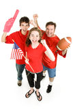 Crazed Football Fans. Group of football fans going wild.  Full body isolated on white Stock Photography