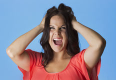 Crazed and Frustrated Woman pulling her hair. Studio shot with blue background Royalty Free Stock Images