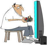 Crazed man playing video games. Royalty Free Stock Images
