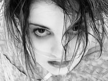 Crazed Teen. Teen in hospital gown with oxygen tube in black and white Royalty Free Stock Photos