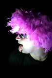 Crazy-1. Crazy feathery man in spectacles royalty free stock images