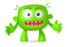 Crazy. Funny green abstract character on white background Royalty Free Stock Images