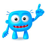 Crazy. Funny blue abstract character on white background Royalty Free Stock Photos