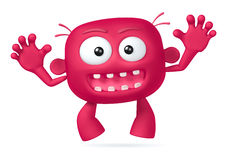 Crazy. Funny red abstract character on white background Royalty Free Stock Image